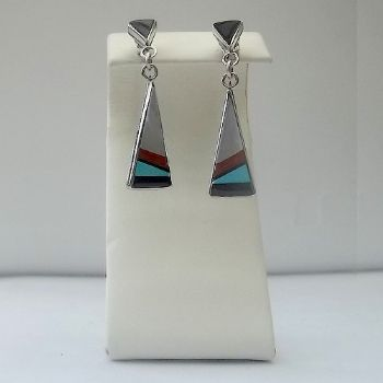 Traditional Zuni Earrings with White Shell